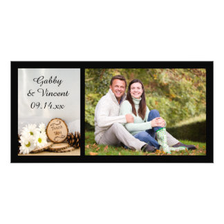 Rustic White Daisies Woodland Wedding Thank You Card