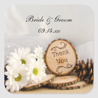 Rustic White Daisies Woodland Wedding Thank You Stickers