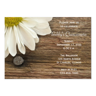 Rustic White Daisy and Barn Wood Quinceanera 5x7 Paper Invitation Card