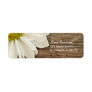 Rustic White Daisy Brown Barn Wood Return Address Label