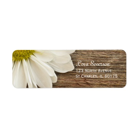 Rustic White Daisy Brown Barn Wood Return Address Label