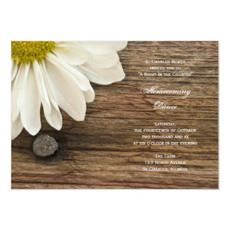 Rustic White Daisy Country Homecoming Dance Invite