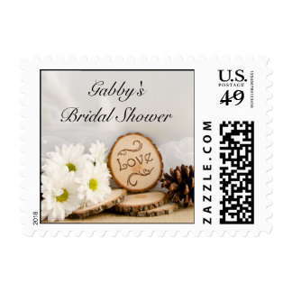 Rustic White Daisy Woodland Bridal Shower Postage