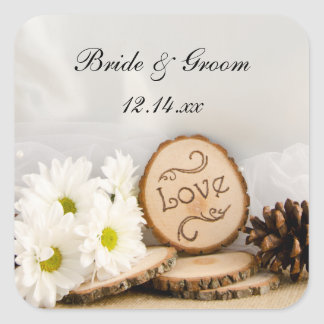 Rustic White Daisy Woodland Wedding Envelope Seals Square Stickers