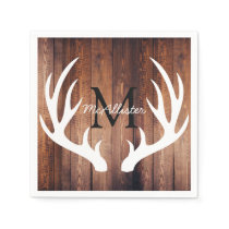 Rustic White Deer Antlers Barn Wood - Personalized Napkin