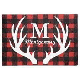 Rustic White Deer Antlers Buffalo Check Plaid Doormat