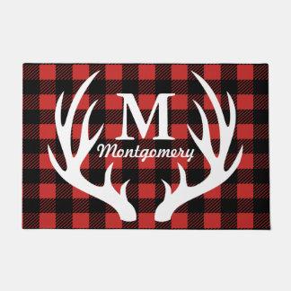 Rustic White Deer Antlers Buffalo Check Plaid Doormat