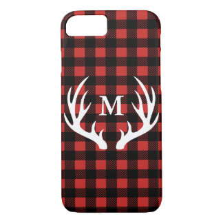Rustic White Deer Antlers Buffalo Check Plaid iPhone 8/7 Case