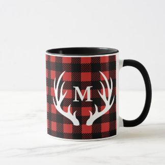 Rustic White Deer Antlers Buffalo Check Plaid Mug