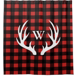 Rustic White Deer Antlers Amp Buffalo Check Plaid Shower Curtain