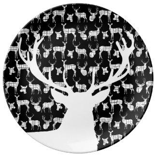 Rustic White Deer Buck Black Porcelain Plate