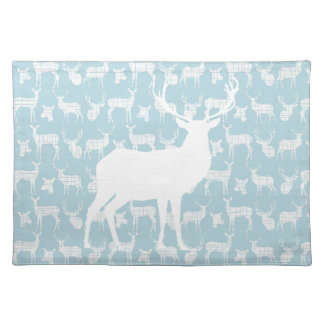Rustic White Deer on Blue Placemat Cloth Place Mat
