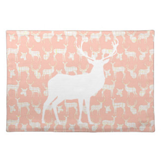 Rustic White Deer on Pink Placemat Cloth Placemat