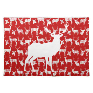 Rustic White Deer on Red Placemat Cloth Placemat