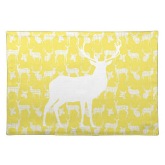 Rustic White Deer on Yellow Placemat Cloth Placemat