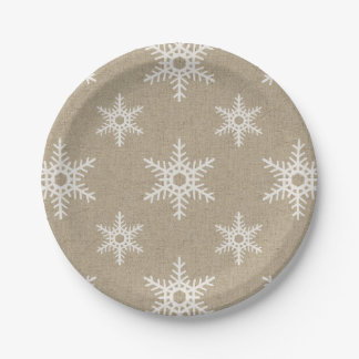 Rustic White Faux Burlap Snowflake Pattern Paper Plate