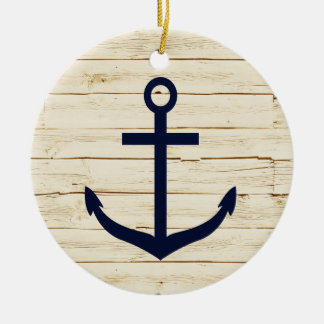 Rustic White Faux Wood with Anchor Ceramic Ornament