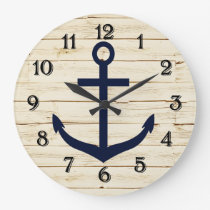 Rustic White Faux Wood with Anchor Large Clock