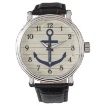 Rustic White Faux Wood with Anchor Wristwatch