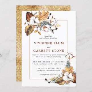 Rustic White Floral Gold Autumn Leaves Wedding Invitation