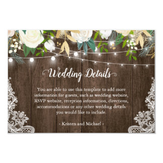 Rustic White Floral String Lights Wedding Details Card