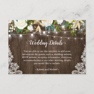 Rustic White Floral String Lights Wedding Details Enclosure Card