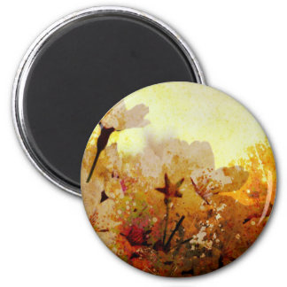 Rustic White Flowers 2 Inch Round Magnet