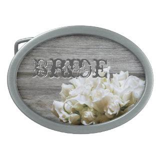 Rustic White Flowers Bride Belt Buckle