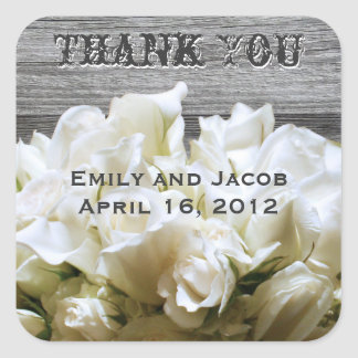 Rustic White Flowers Favor Tags Square Stickers