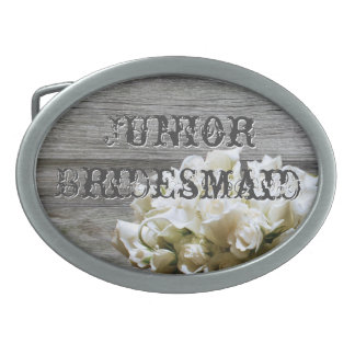 Rustic White Flowers Junior Bridesmaid Belt Buckle