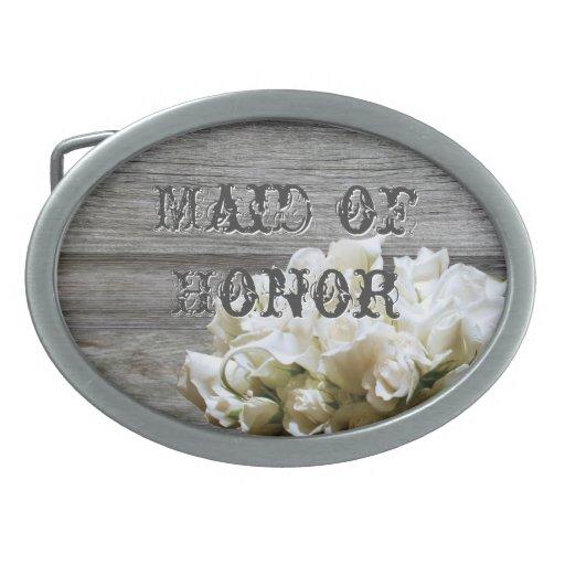 Rustic White Flowers Maid of Honor Belt Buckle