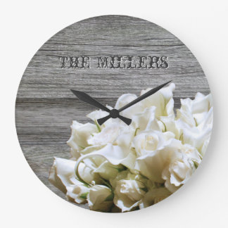 Rustic White Flowers Personalized Clock