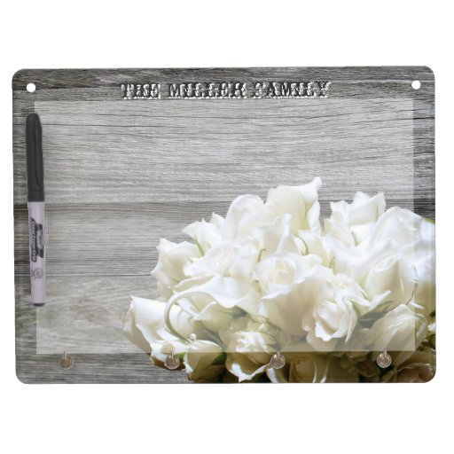 Rustic White Flowers Personalized Dry-Erase Board