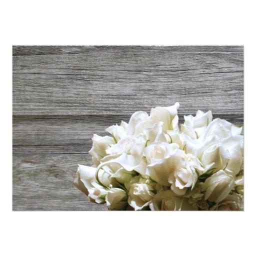 Rustic White Flowers Rehearsal Dinner Invitations (back side)