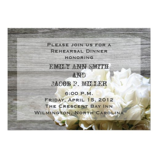 Rustic White Flowers Rehearsal Dinner Invitations (front side)