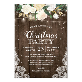 Rustic White Flowers String Lights Christmas Party Card