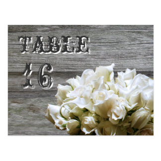 Rustic White Flowers Table Number Cards