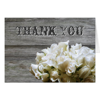 Rustic White Flowers Thank You Cards