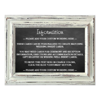 Rustic White Frame & Chalkboard Wedding Collection Card