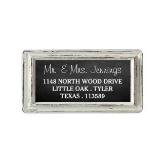 Rustic White Frame & Chalkboard Wedding Collection Label