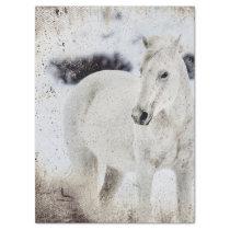 RUSTIC WHITE HORSE VINTAGE PHOTO TISSUE PAPER
