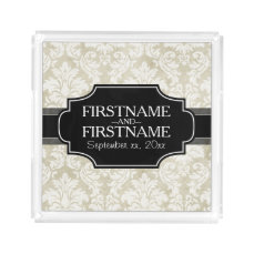 Rustic White Lace and Parchment with black accents Acrylic Tray
