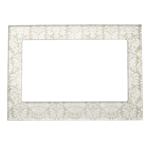 Rustic White Lace and Parchment with black accents Magnetic Picture Frame