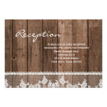 Rustic White Lace and Wood Reception Info Card