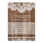 Rustic White Lace and Wood RSVP 3.5x5 Paper Invitation Card