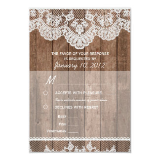 Rustic White Lace and Wood RSVP with Meal Options Card