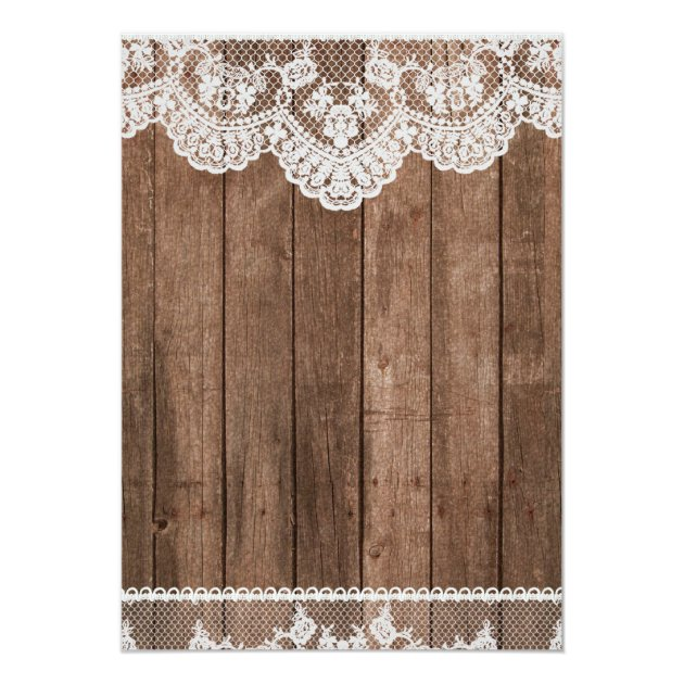 Rustic White Lace And Wood Wedding Invitation Zazzle