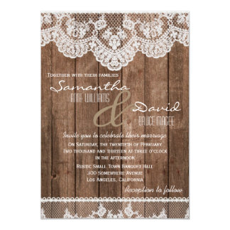 Rustic White Lace and Wood Wedding Invitation