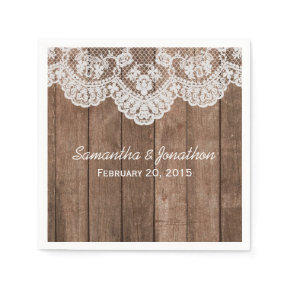 Rustic White Lace and Wood Wedding Standard Cocktail Napkin