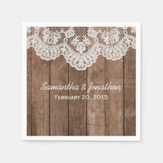 Rustic White Lace and Wood Wedding Paper Napkin